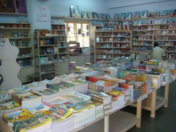 A picture of the huge variety of children's books available for sale at the Ramakrishna Mission bookstore.