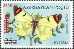 Butterfly stamp of Azerbaijan depicting the Zegris menestho species of butterfly.