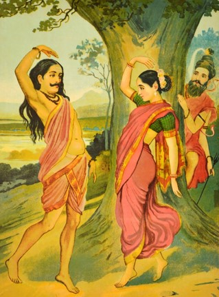 A painting by Raja Ravi Varma depicting Bhasmasura dancing with Mohini (Lord Vishnu in disguise), while Lord Shiva watches hiding behind a tree.