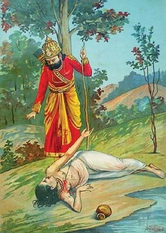 King Dasaratha accidentally kills Shravan Kumar  (Painting by Raja Ravi Varma courtesy Wikipedia)