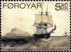 Sailing Ship Stamp - A Faroe Islands stamp showing a ship with its sails unfurled.