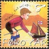 Stamps for Children - A Faroe Islands stamp with the picture of a boy sailing his boat.