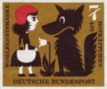 A German Stamp showing Red Riding Hood and the Evil Wolf.