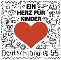 "Love stamps – German stamp with the picture of a heart carrying the message ""a heart for kids""."