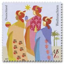 A German Christmas Stamp depicting the Three Wise Men and the Star of Bethlehem.