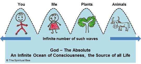 God - An Infinite Ocean of Pure Consciousness, the Source of all Life.