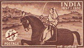 An Indian stamp commemorating the Mutiny of 1857, depicting Rani Lakshmi Bai of Jhansi.