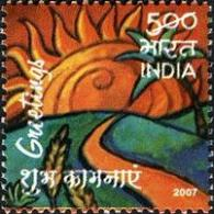Sunrise Art - An Indian stamp depicting a beautiful sunrise painting.