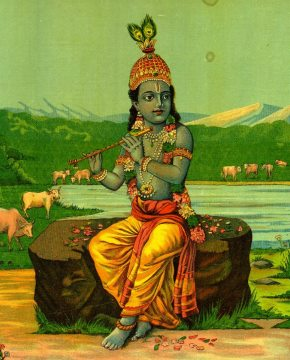 A Painting of Lord Krishna by Raja Ravi Varma courtesy the British Museum.