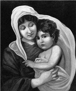 The picture of Madonna and child Jesus, seeing which Sri Ramakrishna went into deep meditation (Courtesy: Vedanta Society of St. Louis).