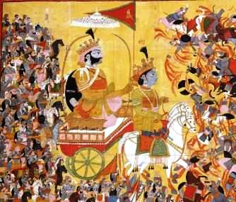 An 1820 painting of Sri Krishna leading the chariot of Arjun in the Mahabharata War