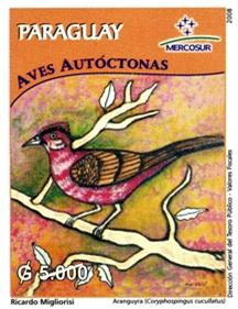 Bird stamp - A Paraguay stamp depicting a painting of the red-crested finch by Ricardo Migliorisi.