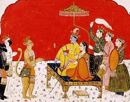 Ramayana Summary - Rama and Sita holding court.