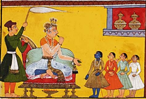 Short Ramayana Summary – A 17th century painting from the Mewar Ramayana (digitally preserved by the British Library) showing King Dasharatha sitting on the throne with his four sons standing before him.