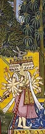 Ravana, the 10 headed demon who carried away Sita in the Ramayana. (Painting courtesy the Mewar Ramayana)