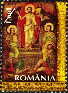 A Romanian Christmas Stamp, showing the resurrection of Lord Jesus Christ.