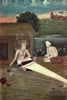 An 1825 painting depicting Saint Kabir weaving outside his hut.