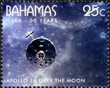 Science stamps - A Bahamas stamp depicting the Apollo 16 mission to land on the moon.