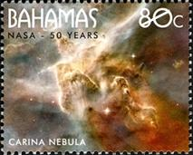 Space stamps - A Bahamas stamp showing the Carina Nebula.