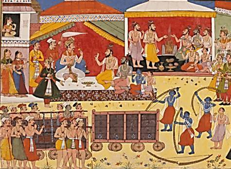 Ramayana in Summary – The Svayamvara of Sita in which Rama picks up the mighty bow and breaks it.
