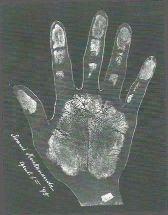 An autographed photo of Swami Vivekananda's hand taken in the year 1895.