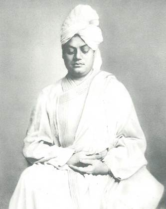 A picture of Swami Vivekananda meditating.