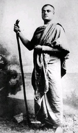 A picture of Swami Vivekananda in his early days as a wandering monk, prior to his leaving for America in 1893.