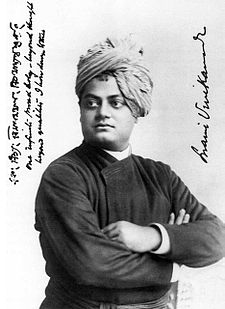 An autographed photo that captures the life teachings of Swami Vivekananda.