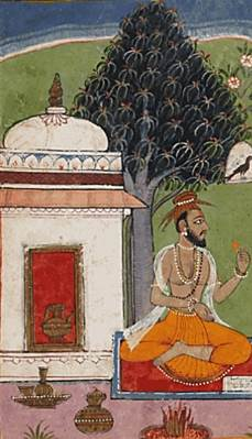 Swami Vivekananda beginning his summary of the Ramayana with the story of Valmiki, the sage who composed the Ramayana. This image is courtesy the 17th century Mewar Ramayana, which has been digitally preserved by the British Library.