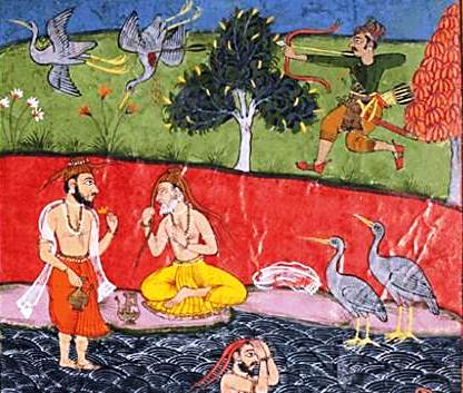 Abbreviated story of the Ramayana – Sage Valmiki is grief-stricken after he sees a hunter kill a dove.
